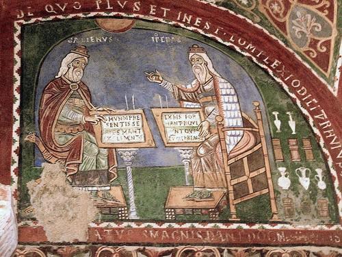 12世纪盖伦和希波克拉底(右)的壁画